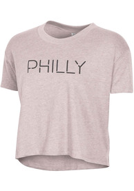 Alternative Apparel Philadelphia W Vintage Faded Pink Disconnected Cropped Short Sleeve T-Shirt