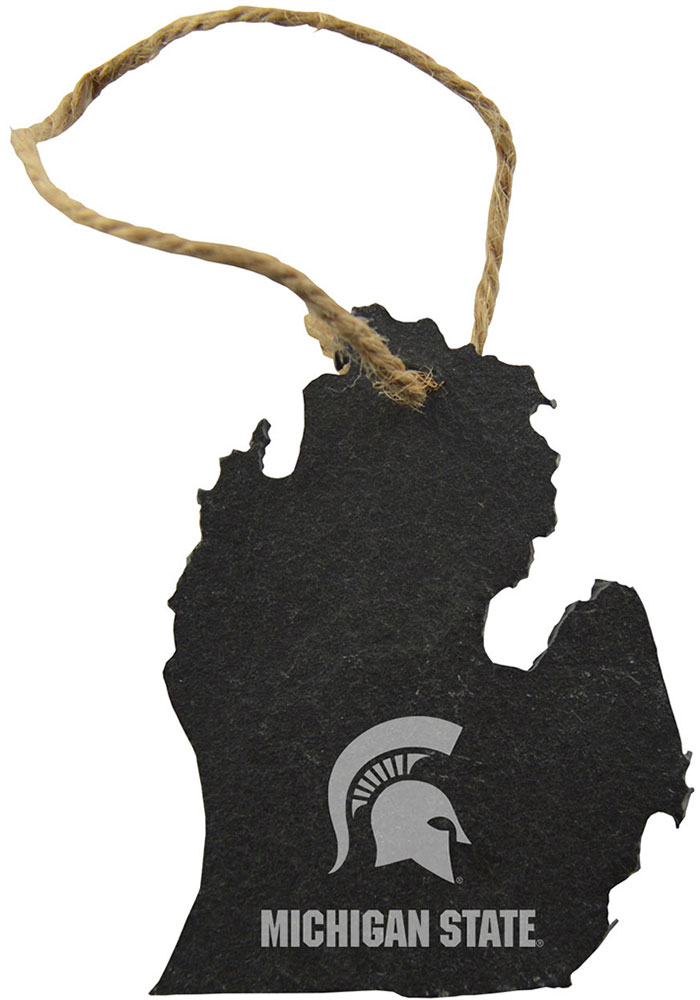 Michigan State Spartans Slate State Shape Ornament - Image 1