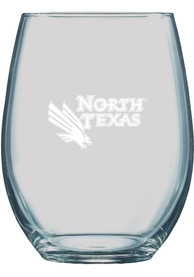 North Texas Mean Green 21oz Logo Engraved Stemless Wine Glass