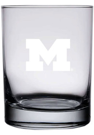 Michigan Wolverines 14oz Etched Rock Glass