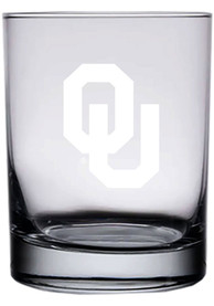 Oklahoma Sooners 14oz Etched Rock Glass