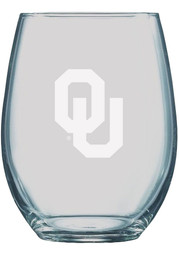 Oklahoma Sooners 21oz Etched Stemless Wine Glass