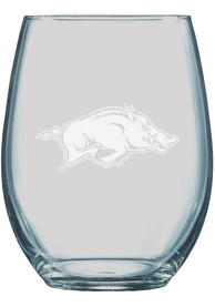 Arkansas Razorbacks 21oz Etched Stemless Wine Glass