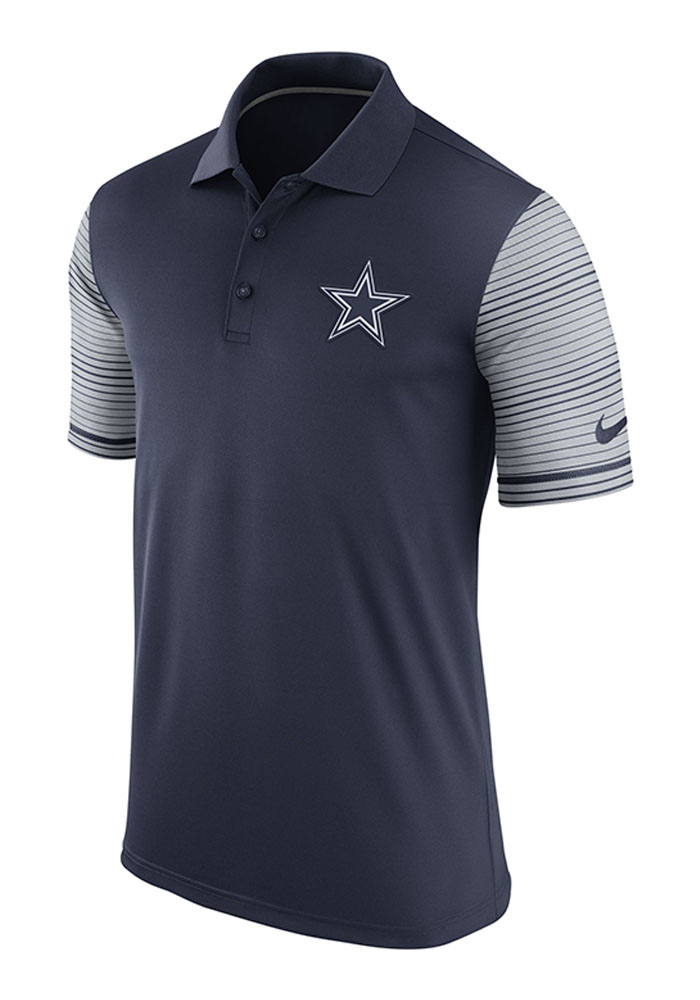 Dallas Cowboys Mens Navy Blue woven and embroidered Short Sleeve Polo - Image 1