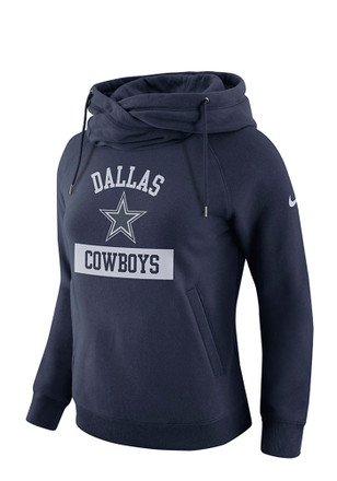 Dallas Cowboys Womens Navy Blue Tailgate Funnel Hoodie