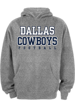 Cowboys Kids Grey Practice Hooded Sweatshirt