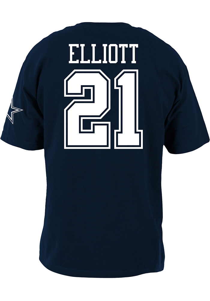 Ezekiel Elliott Dallas Cowboys Youth Navy Blue Name and Number Player Tee - Image 1