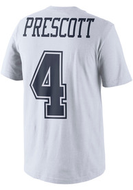 Dak Prescott Dallas Cowboys White Name and Number Player Tee