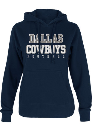 Dallas Cowboys Womens Navy Blue Practice Glitter Hoodie