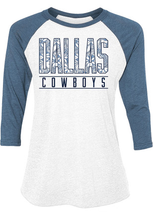 Dallas Cowboys Womens Tuesday Floral White Scoop Neck Tee
