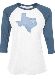 Dallas Cowboys Womens Tuesday Lone State White Scoop Neck Tee