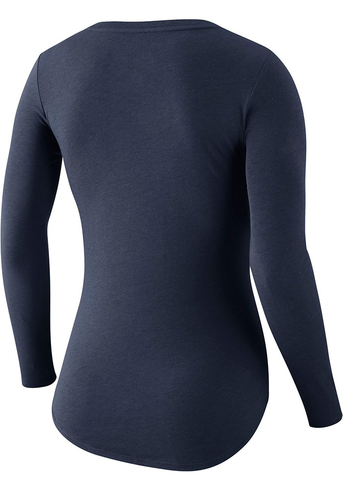 Cowboys Womens Navy Blue Primary Logo Long Sleeve Scoop Neck - Image 2