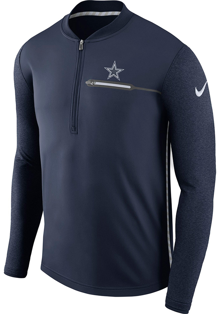 Dallas Cowboys Mens White Coach Long Sleeve 1/4 Zip Pullover - Image 1