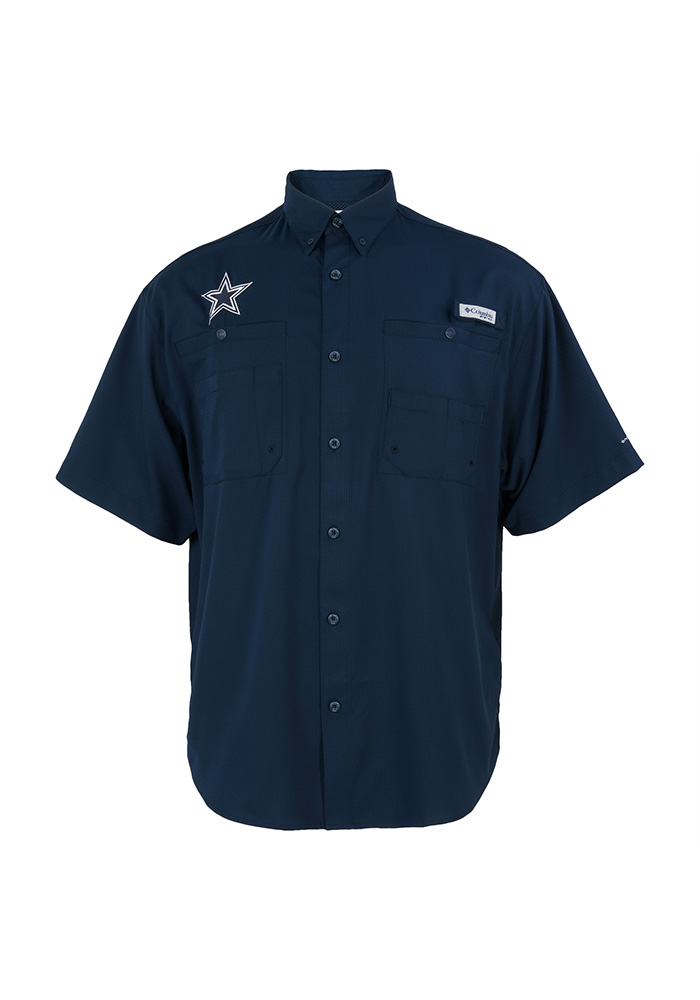 67fdf160b Dallas Cowboys Mens Navy Blue Tamiami Short Sleeve Dress Shirt - Image 1