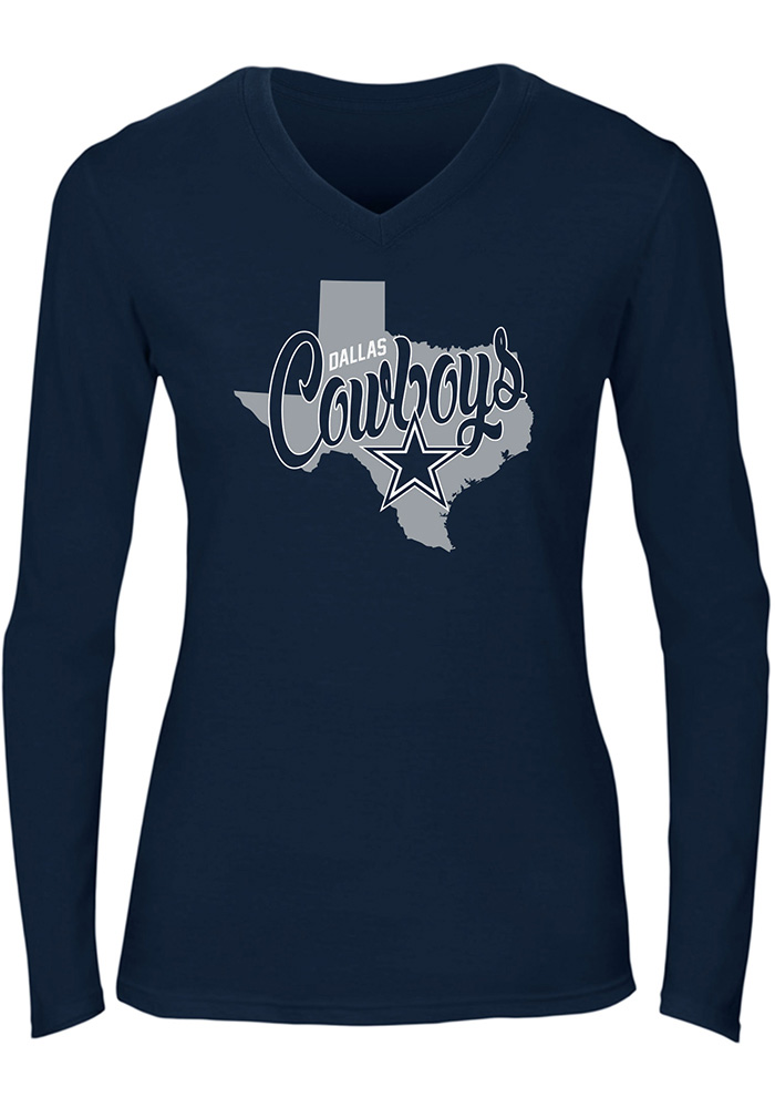 Dallas Cowboys Womens Navy Blue Emilie Long Sleeve T-Shirt - Image 1