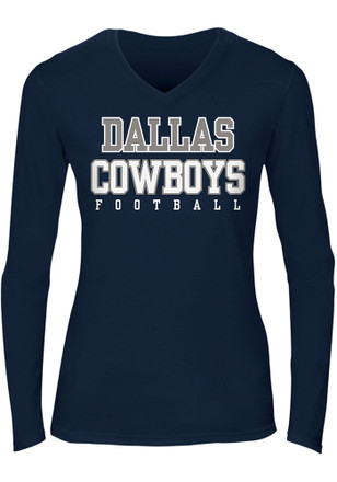 Dallas Cowboys Womens Navy Blue Practice Glitter T-Shirt