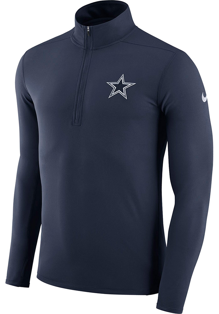Dallas Cowboys Mens Navy Blue Dry Element Long Sleeve 1/4 Zip Pullover - Image 1