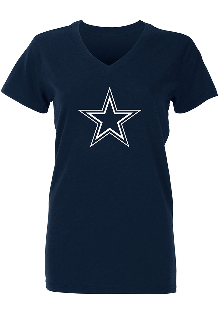 Dallas Cowboys Womens Navy Blue Logo Premier V-Neck T-Shirt - Image 1