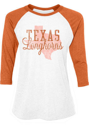Texas Longhorns Womens Tuesday State Orange Scoop Neck Tee