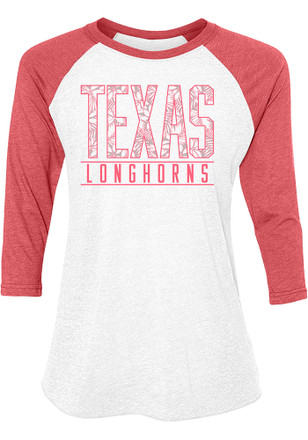 Texas Longhorns Womens Tuesday Floral Red Scoop Neck Tee
