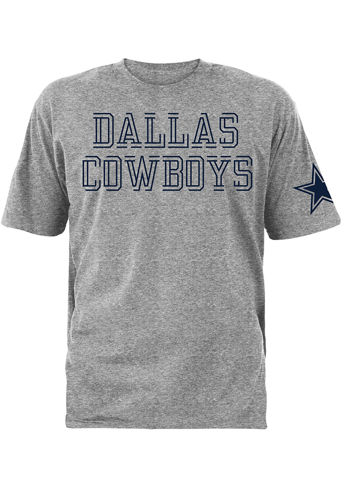 Dallas Cowboys Mens Grey Double Cut Short Sleeve T Shirt 833753f74