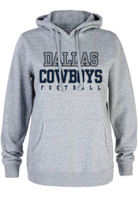 Dallas Cowboys Womens Grey Practice Glitter Hoodie
