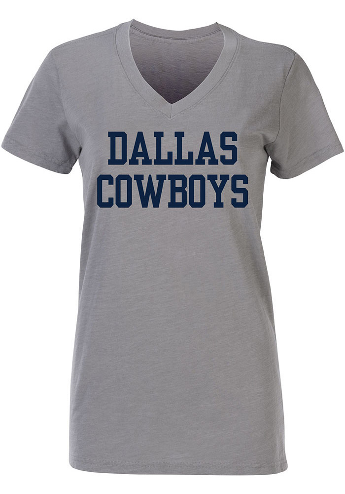 Dallas Cowboys Womens Grey Coaches Too V Neck T Shirt 41021097