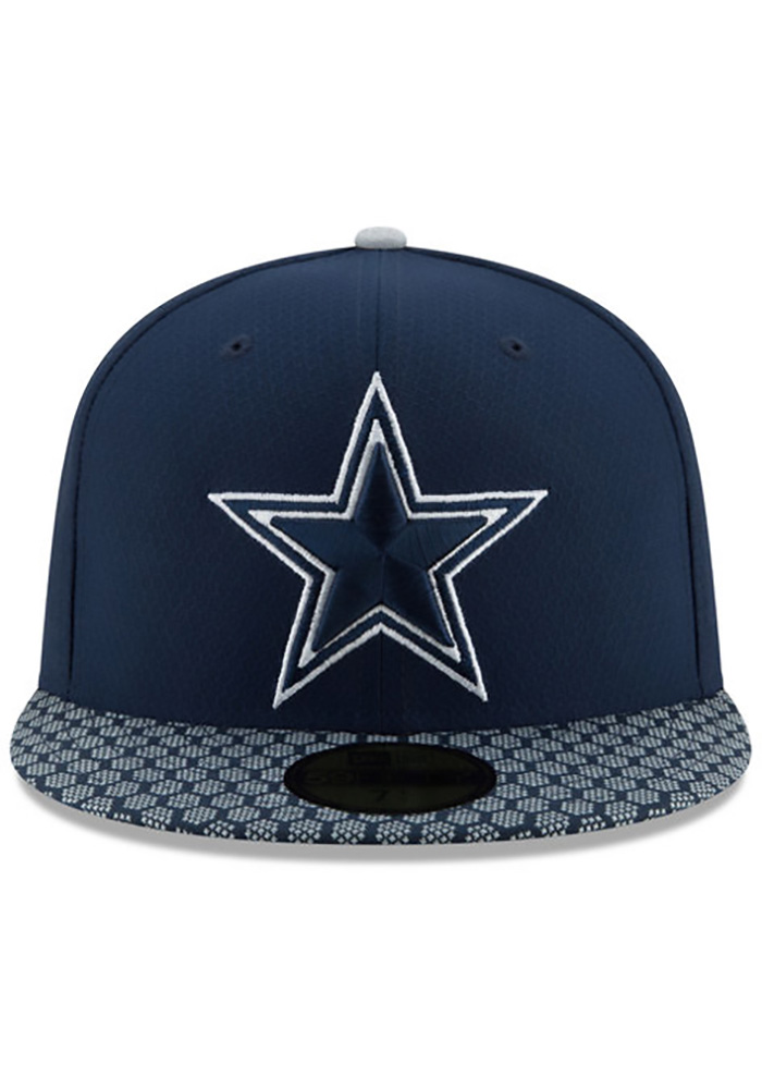 huge inventory popular stores low price Dallas Cowboys Mens Navy Blue 2017 Sideline 59FIFTY Fitted Hat ...