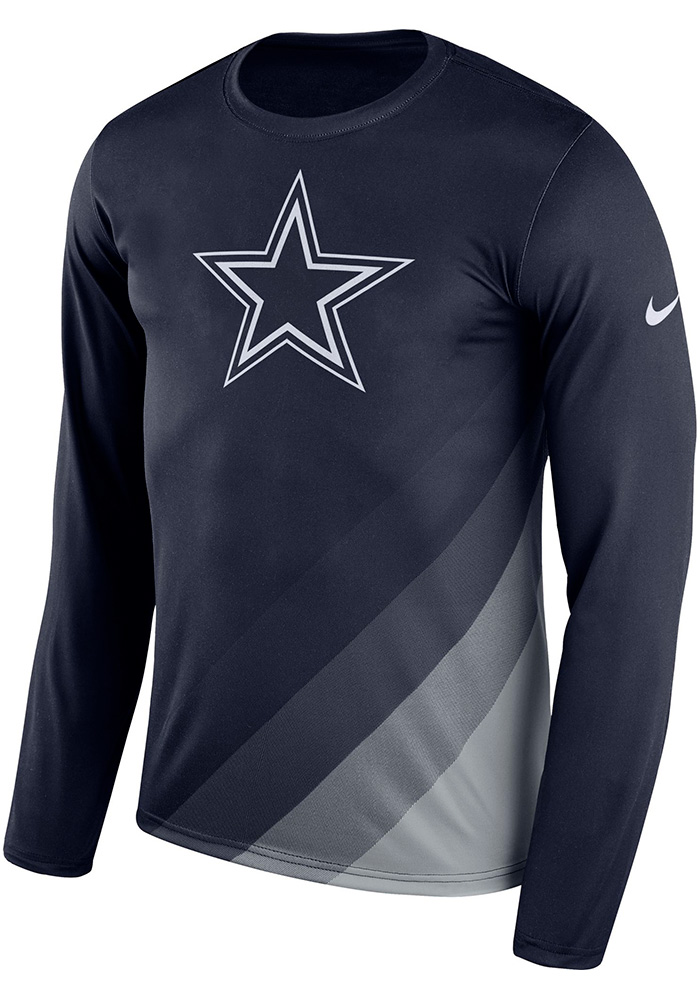 Dallas Cowboys Navy Blue Legend Sideline Long Sleeve T-Shirt - Image 1