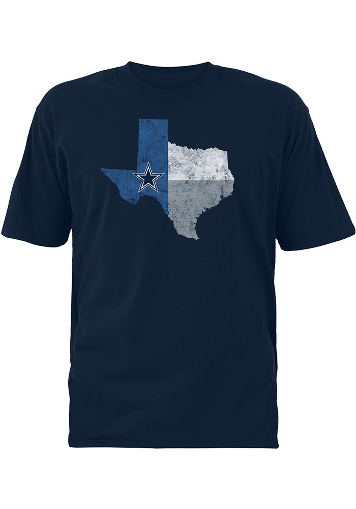 Dallas cowboys mens navy blue color state short sleeve t for Navy blue color shirt