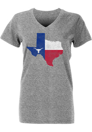 Texas Longhorns Womens Grey Flag State V-Neck