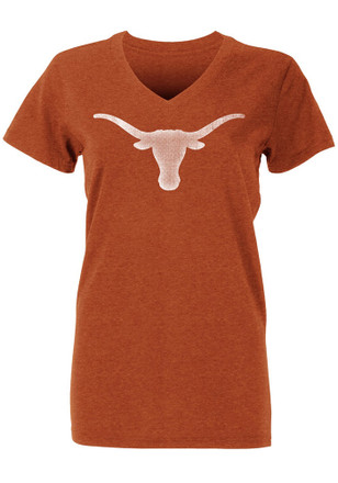 Texas Longhorns Womens Orange Worn Silhouette V-Neck