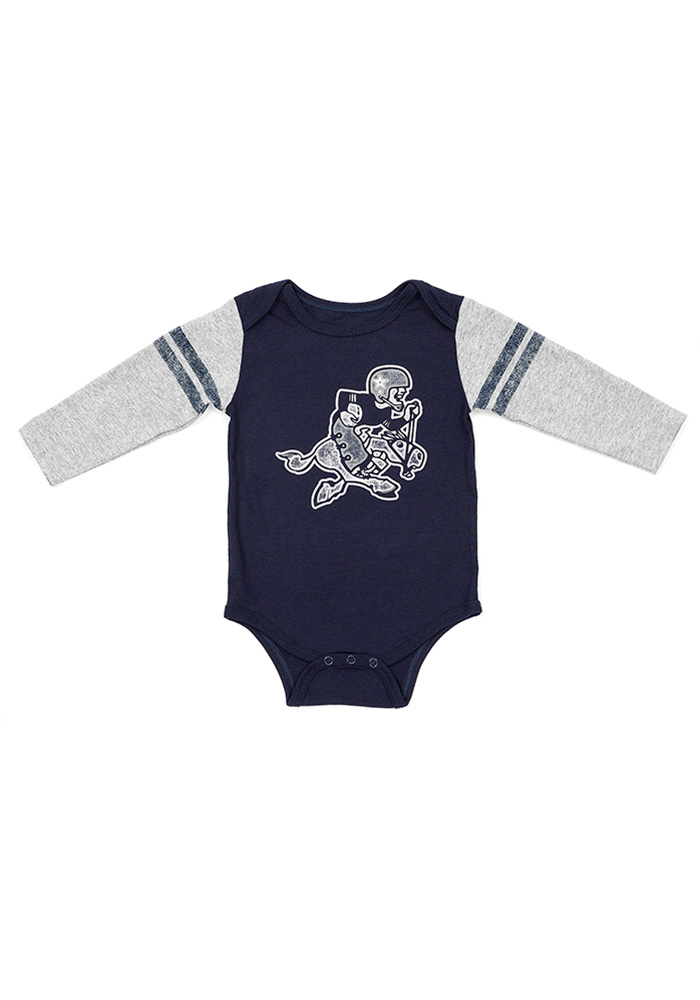 Dallas Cowboys Baby Navy Blue Routh Long Sleeve One Piece - Image 1