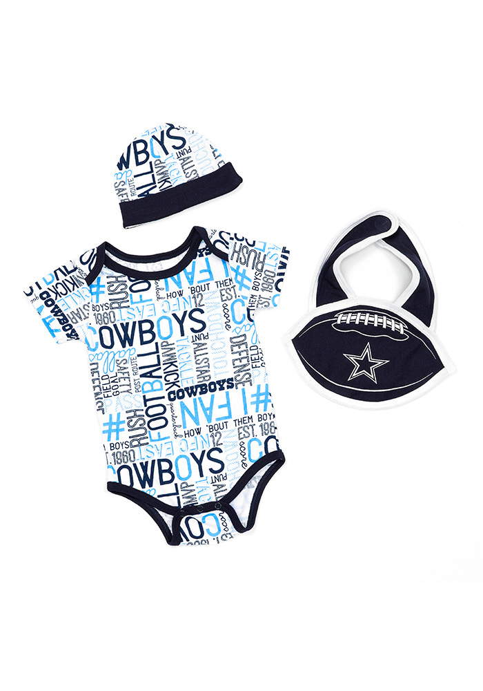 Dallas Cowboys Baby Navy Blue Kirby Set One Piece with Bib - Image 1