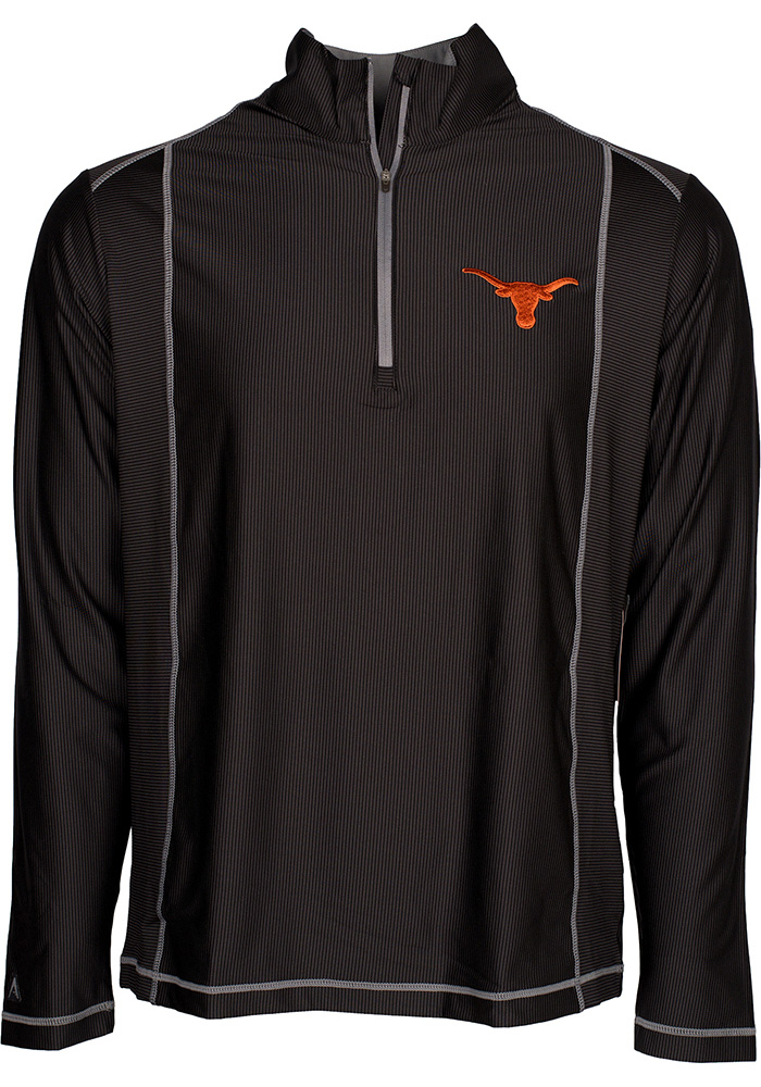 Antigua Texas Longhorns Mens Black Tempo Long Sleeve 1/4 Zip Pullover, Black, 91% POLYESTER / 9% SPANDEX, Size XL