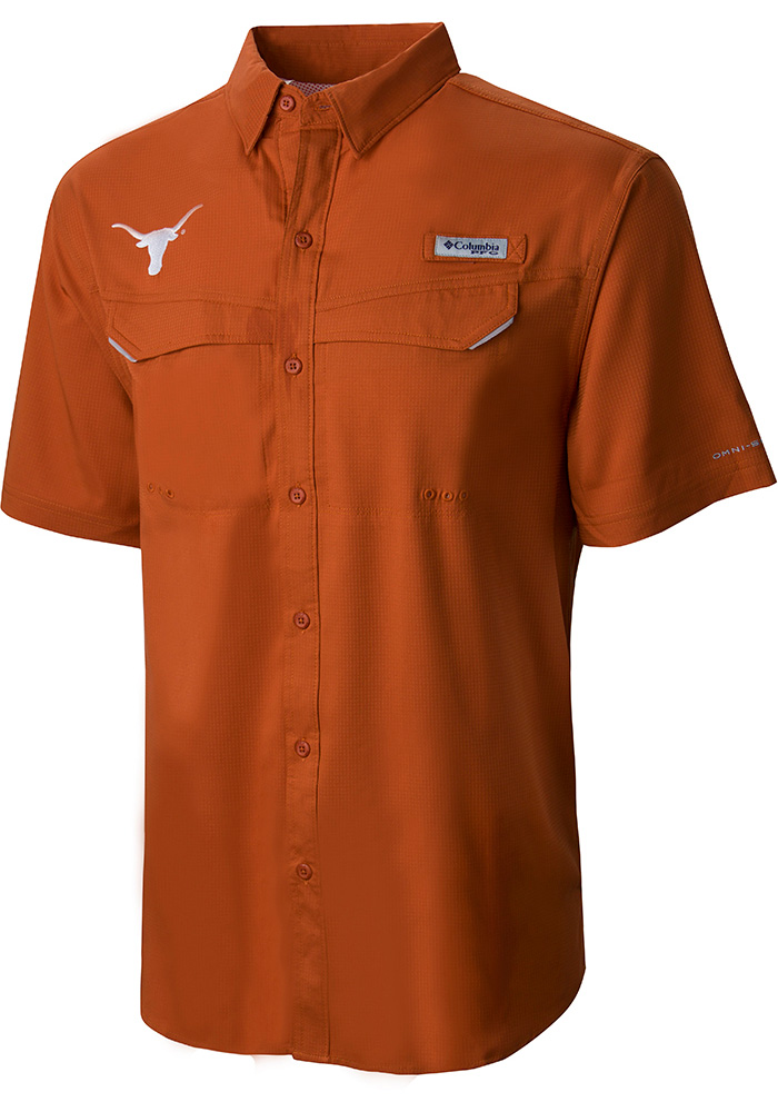Columbia Texas Longhorns Mens Burnt Orange Low Drag Short Sleeve Dress Shirt - Image 1