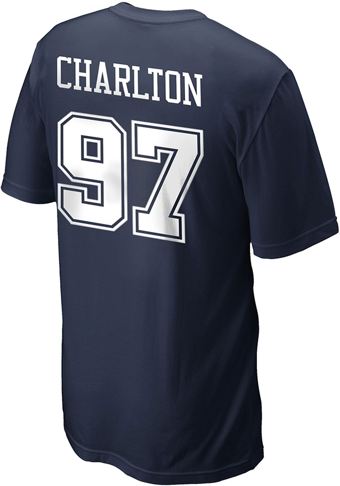 Taco Charlton Dallas Cowboys Navy Blue Name and Number Short Sleeve Player T Shirt - Image 1