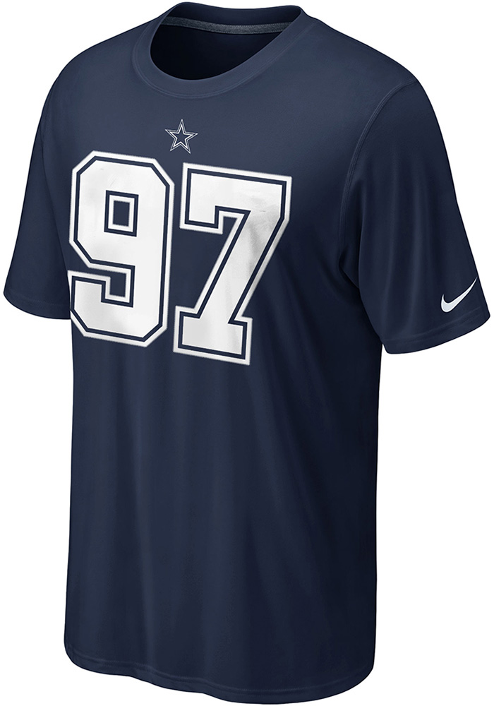 Taco Charlton Dallas Cowboys Navy Blue Name and Number Short Sleeve Player T Shirt - Image 2