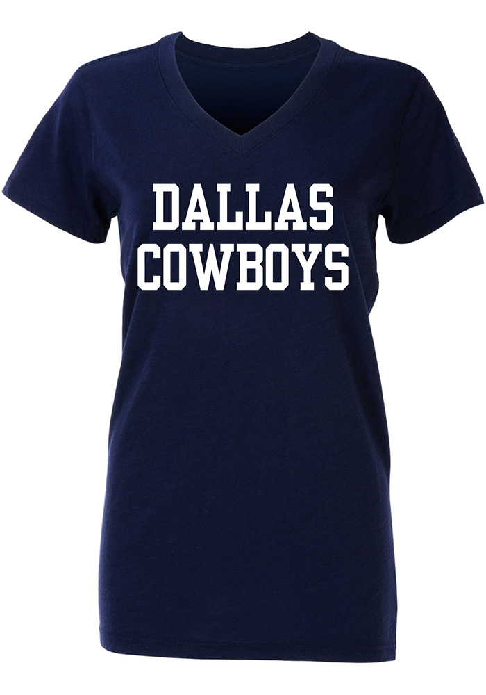 Dallas Cowboys Womens Navy Blue Coaches Too V-Neck T-Shirt, Navy Blue, 100% COTTON, Size L
