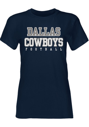 Dallas Cowboys Womens Practice Glitter Navy Blue T-Shirt