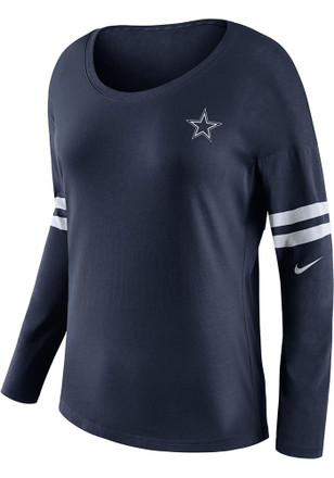 Dallas Cowboys Womens Tailgate Navy Blue LS Tee