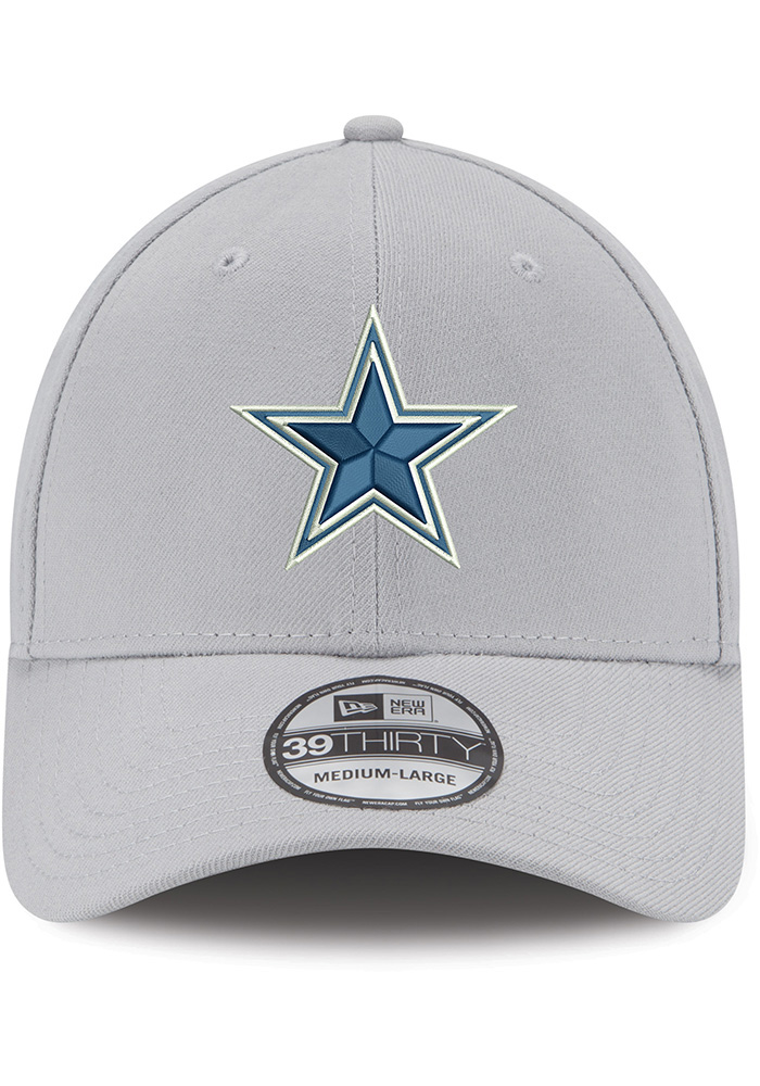 Dallas Cowboys Mens Grey Basic 39THIRTY Flex Hat - Image 3