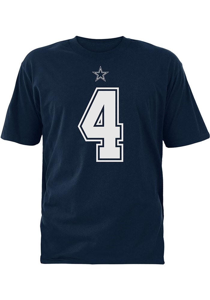 Dak Prescott Dallas Cowboys Navy Blue Authentic Name and Number Short Sleeve T Shirt - Image 2