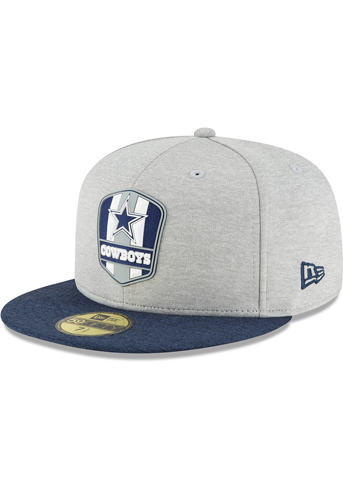 huge discount 74b75 02597 Dallas Cowboys Grey NFL18 Sideline Road 59FIFTY Fitted Hat