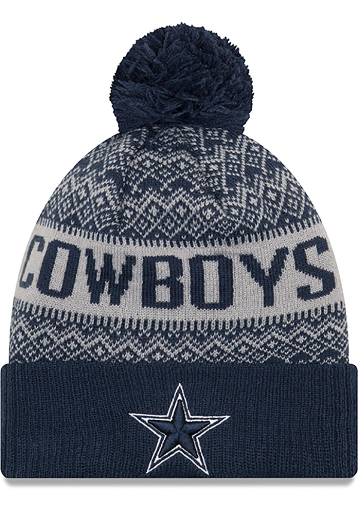 Dallas Cowboys Navy Blue Wintry Pom 3 Mens Knit Hat - Image 1