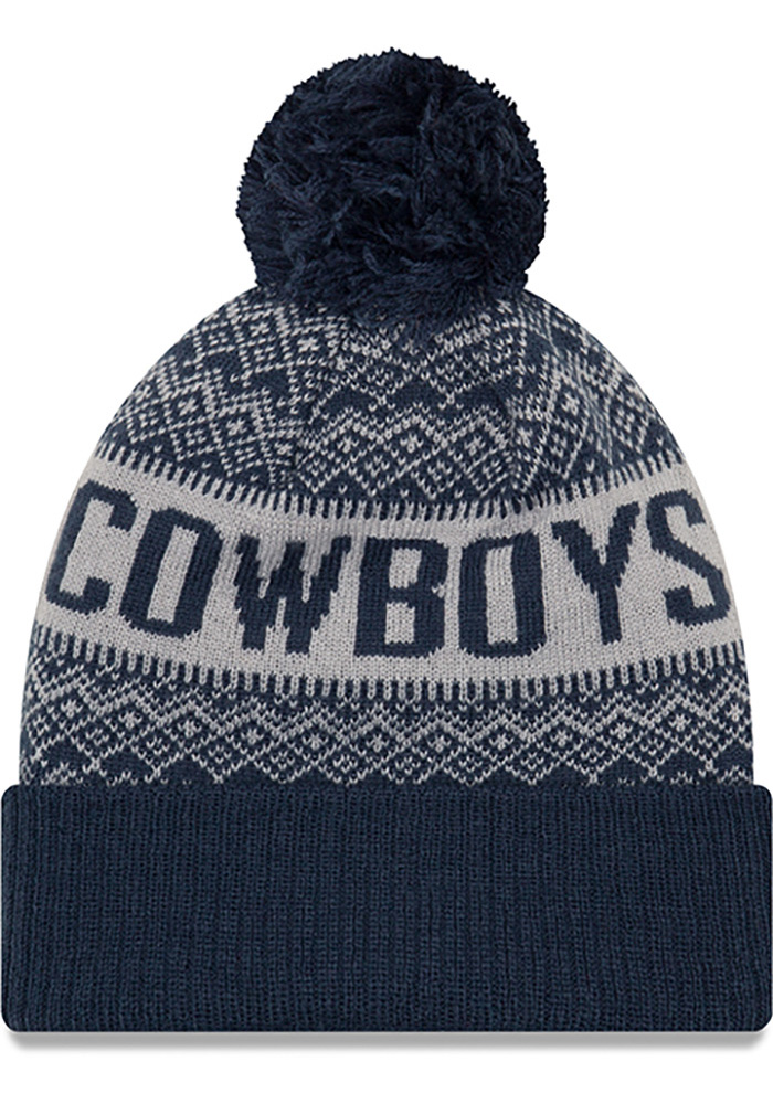 Dallas Cowboys Navy Blue Wintry Pom 3 Mens Knit Hat - Image 2