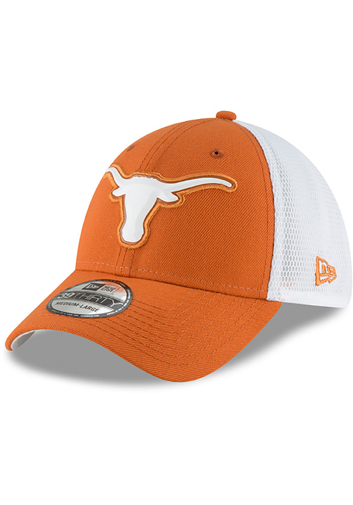 Texas Longhorns Mens Orange Fan Mesh 39THIRTY Flex Hat - Image 1