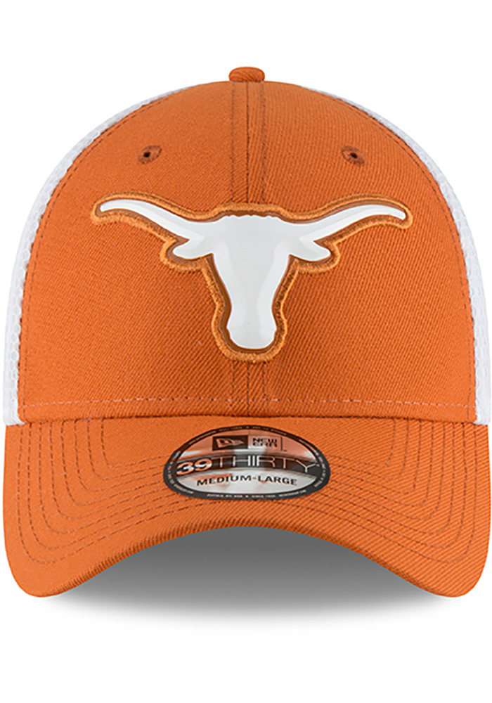 Texas Longhorns Mens Orange Fan Mesh 39THIRTY Flex Hat - Image 3