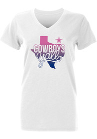 buy online 48941 35449 Dallas Cowboys Girls White Jessica T-Shirt