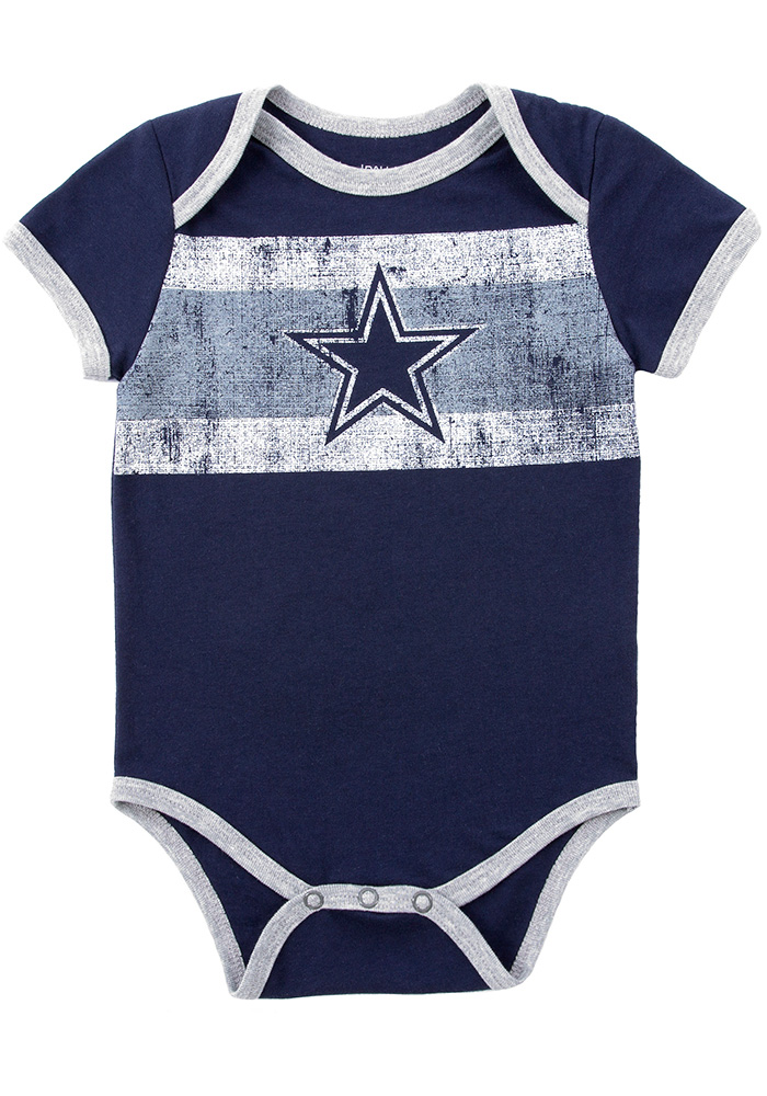 Dallas Cowboys Baby Navy Blue Gizmo Short Sleeve One Piece - Image 1